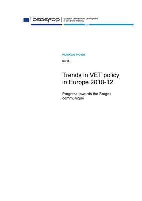 Cedefop: Trendi usmeritev v Evropi za poklicno izobraževanje in usposabljanje 2010-12