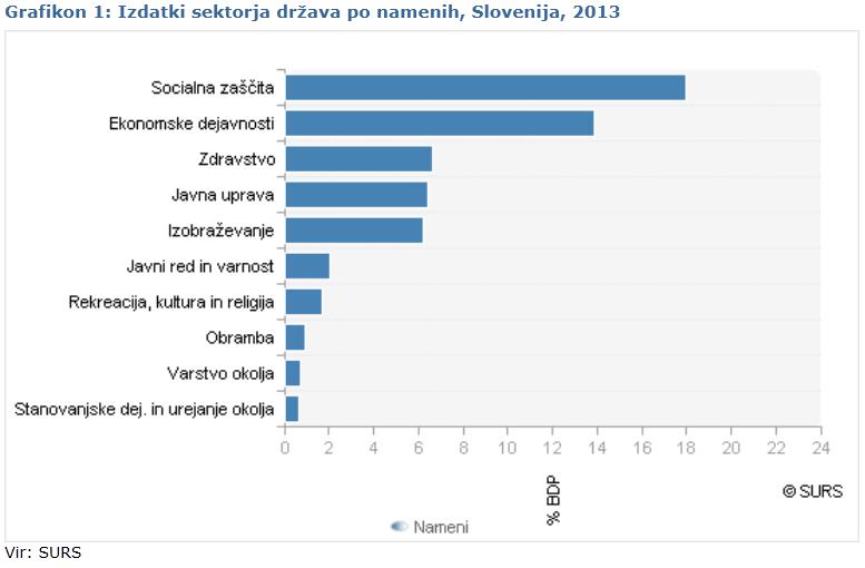 Izdatki sektorja države po namenih grafikon 2013