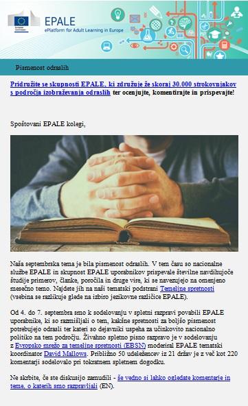 Septembrska izdaja e-glasila EPALE