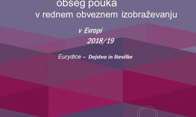Primerjalna študija Priporočeni obseg pouka v rednem obveznem izobraževanju v Evropi 2018/19